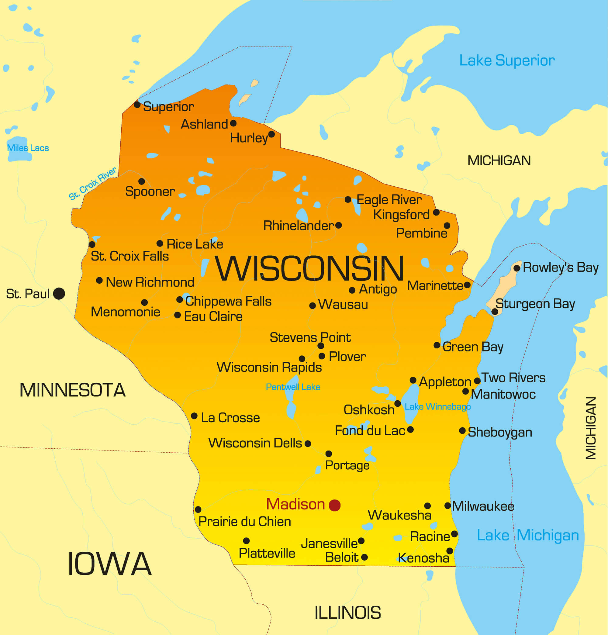 Wisconsin Map Guide Of The World