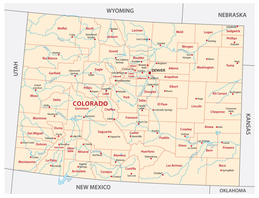 Colorado Map   Guide of the World