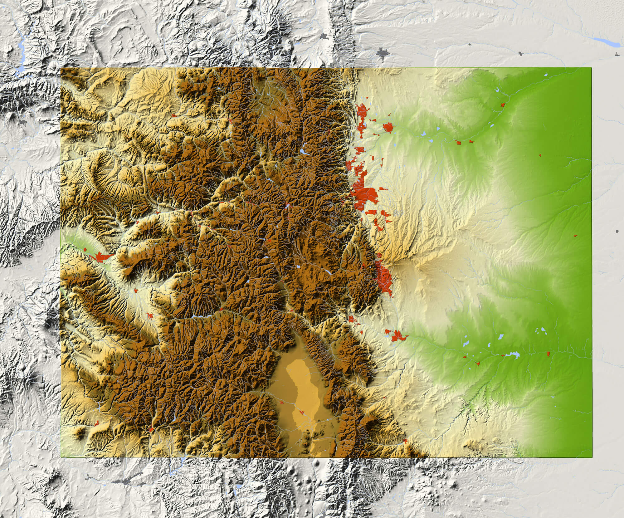 Colorado Shaded relief map