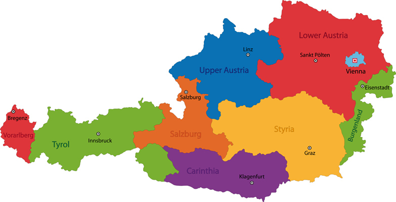 Colorful Austria Map