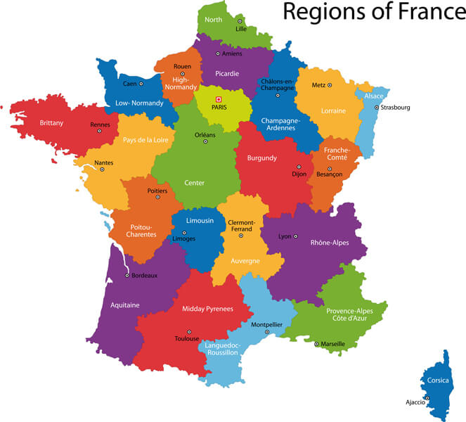 Colorful France Map with Regions