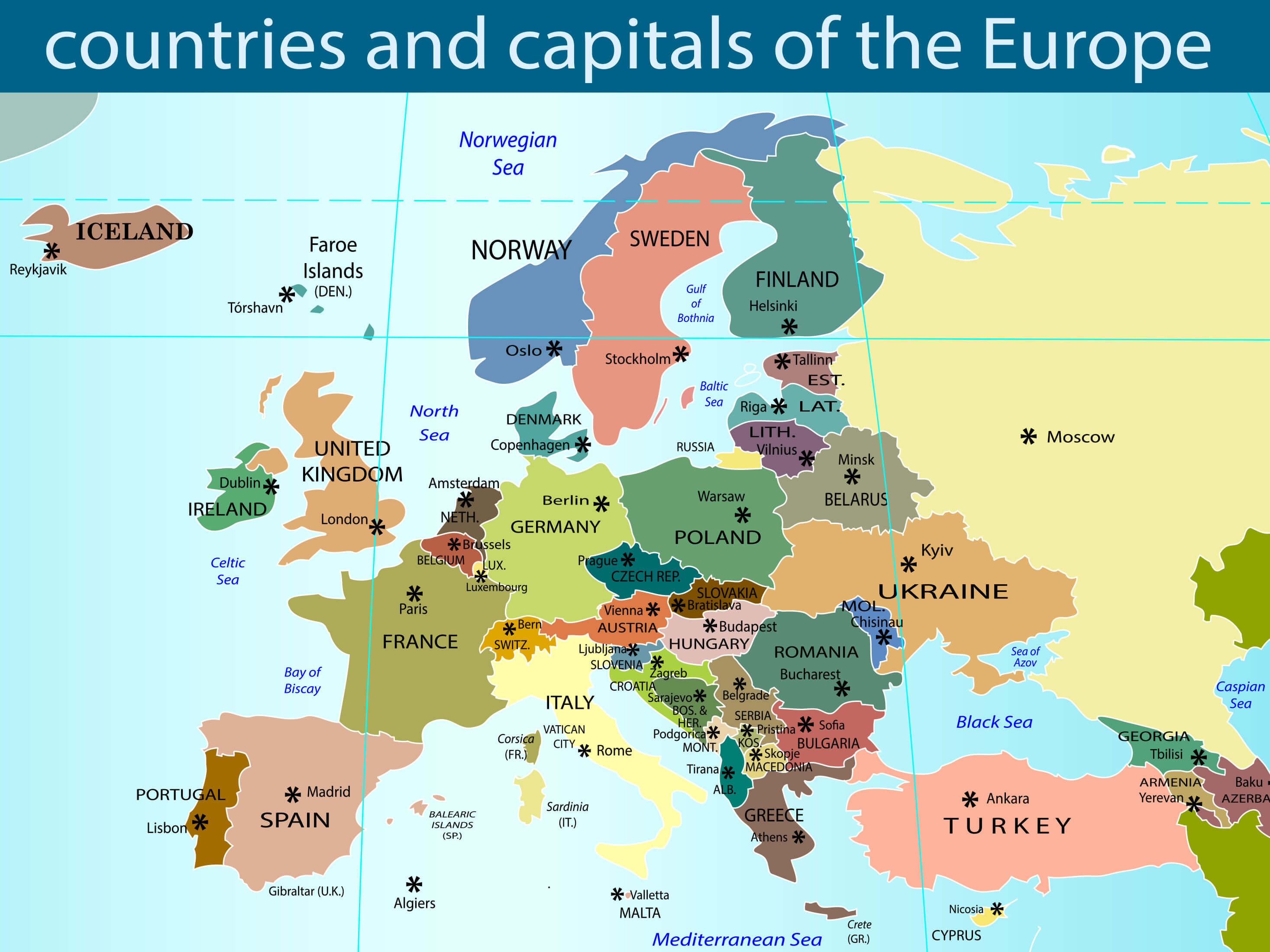 Countries Capitals of the Europe Map