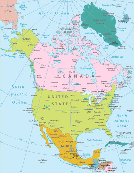 Countries in North America Map