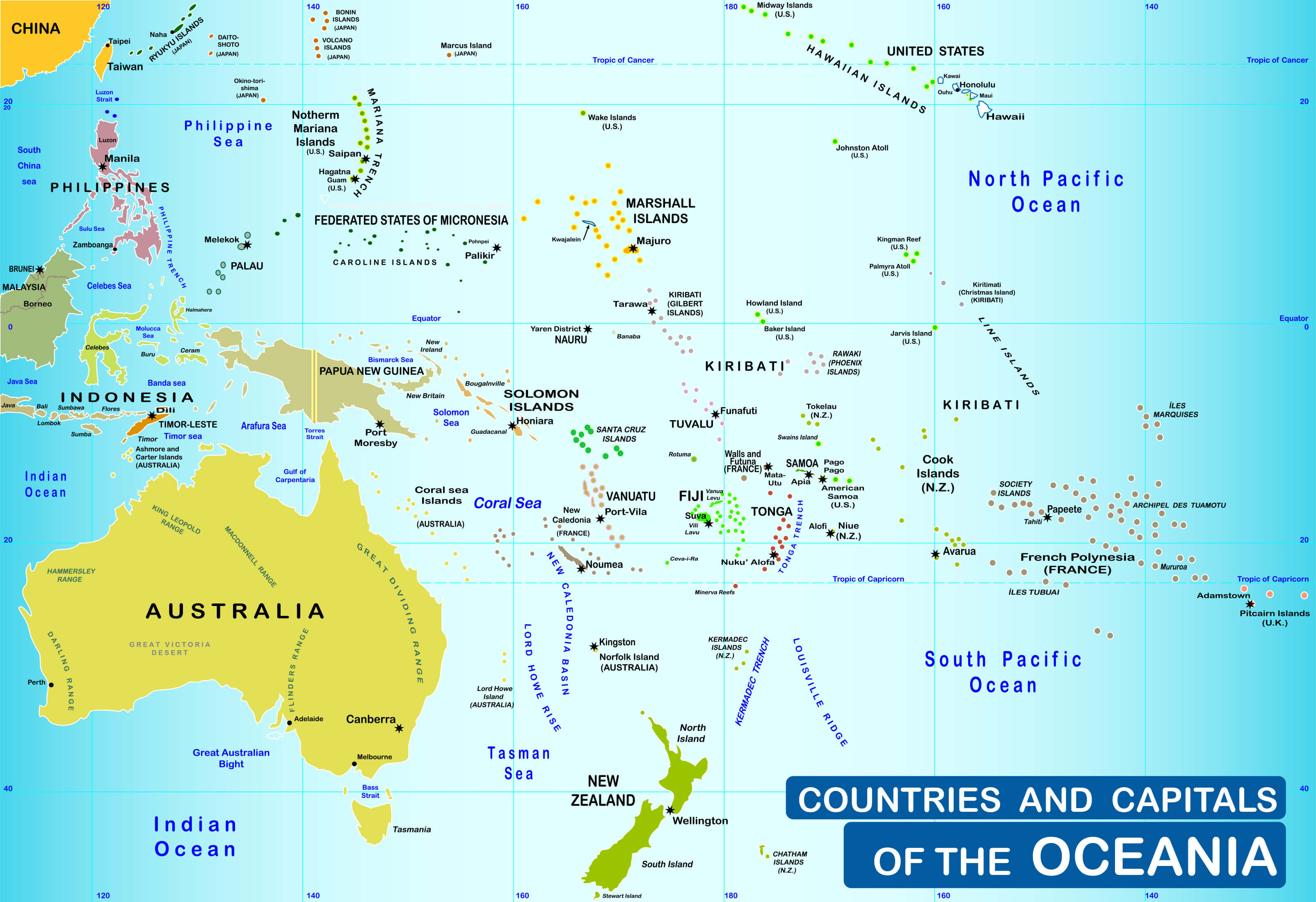 Australia Countries And Capitals Map.Oceania Map Guide Of The World