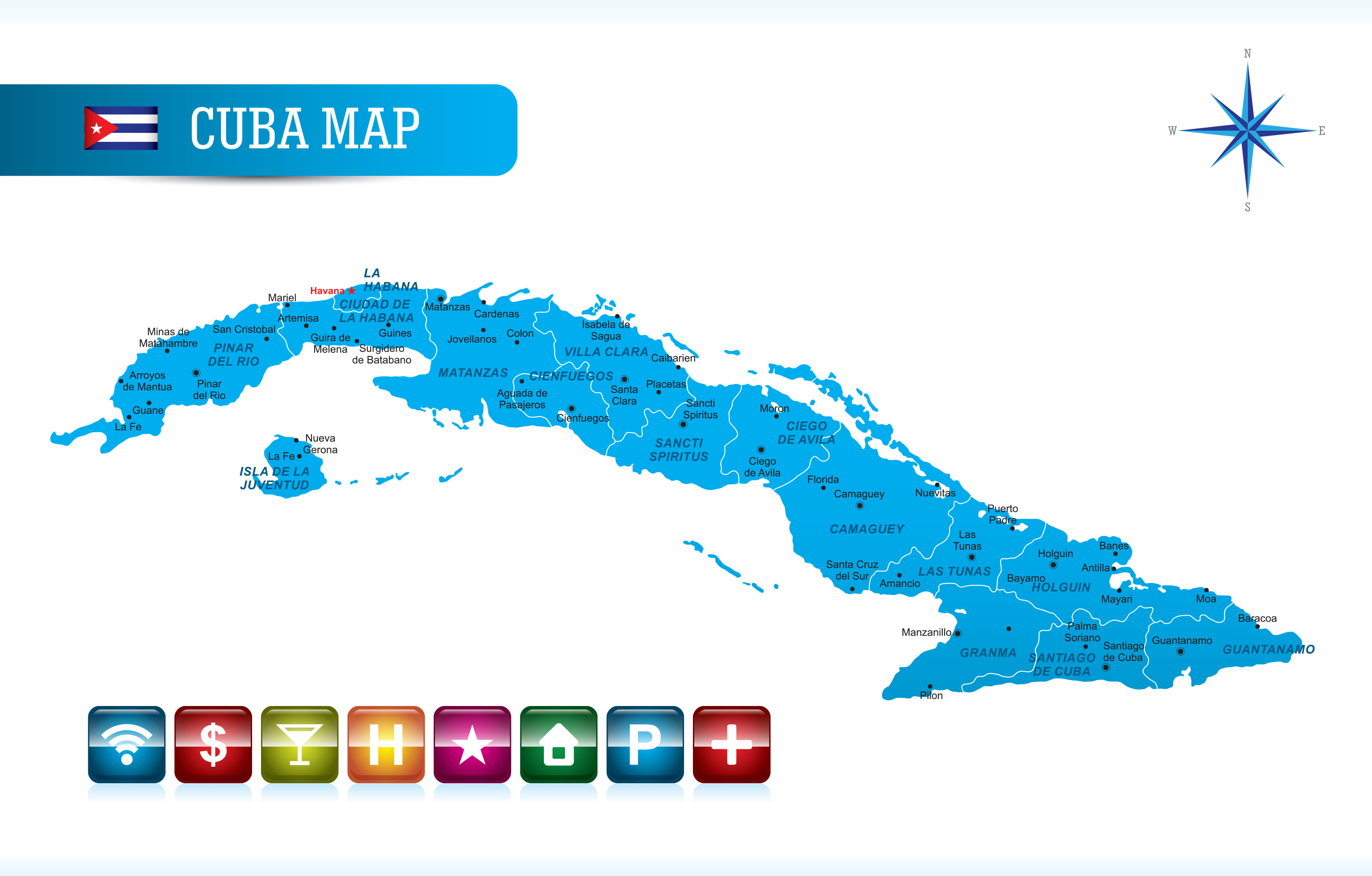 Cuba Map with Navigation
