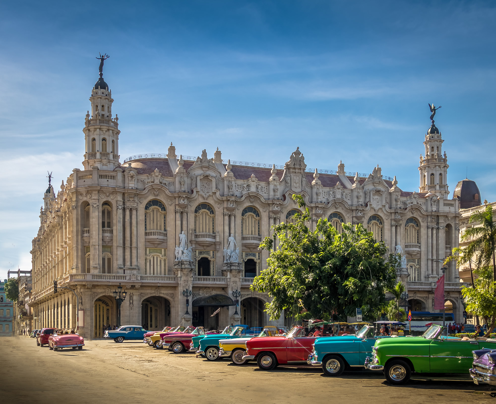 Cuban colorful vintage cars havana