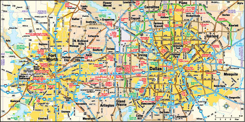 Dallas and Fort Worth, Texas Area Map