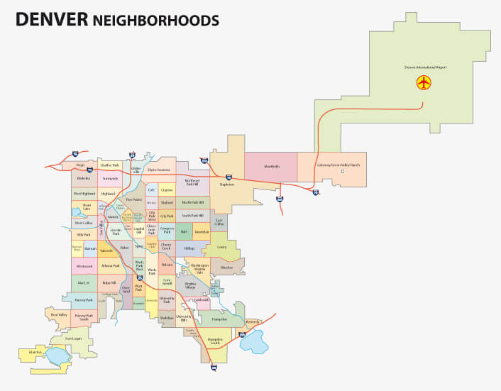 Denver Neighborhood Map, Colorado