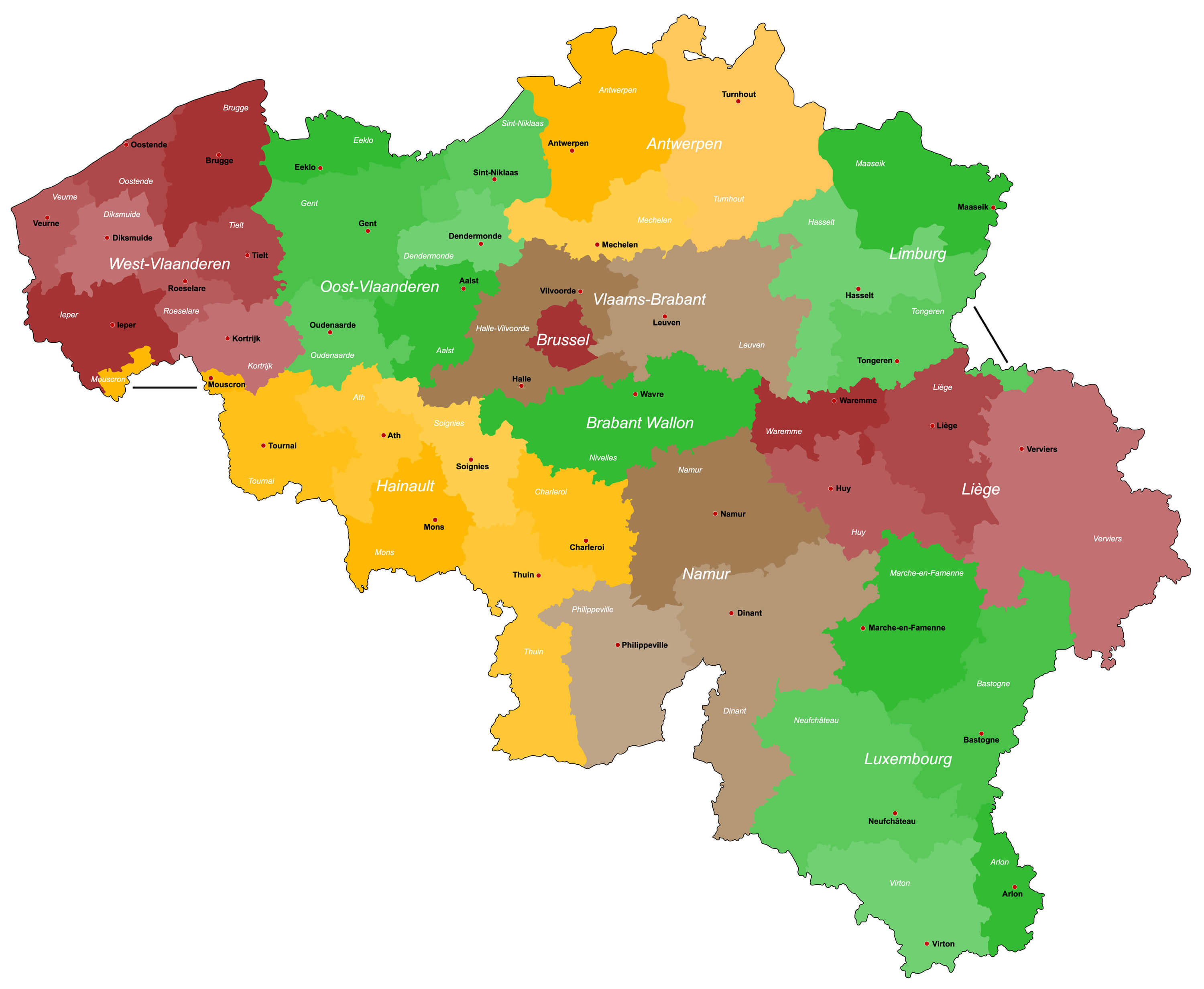 Detailed Map of Belgium