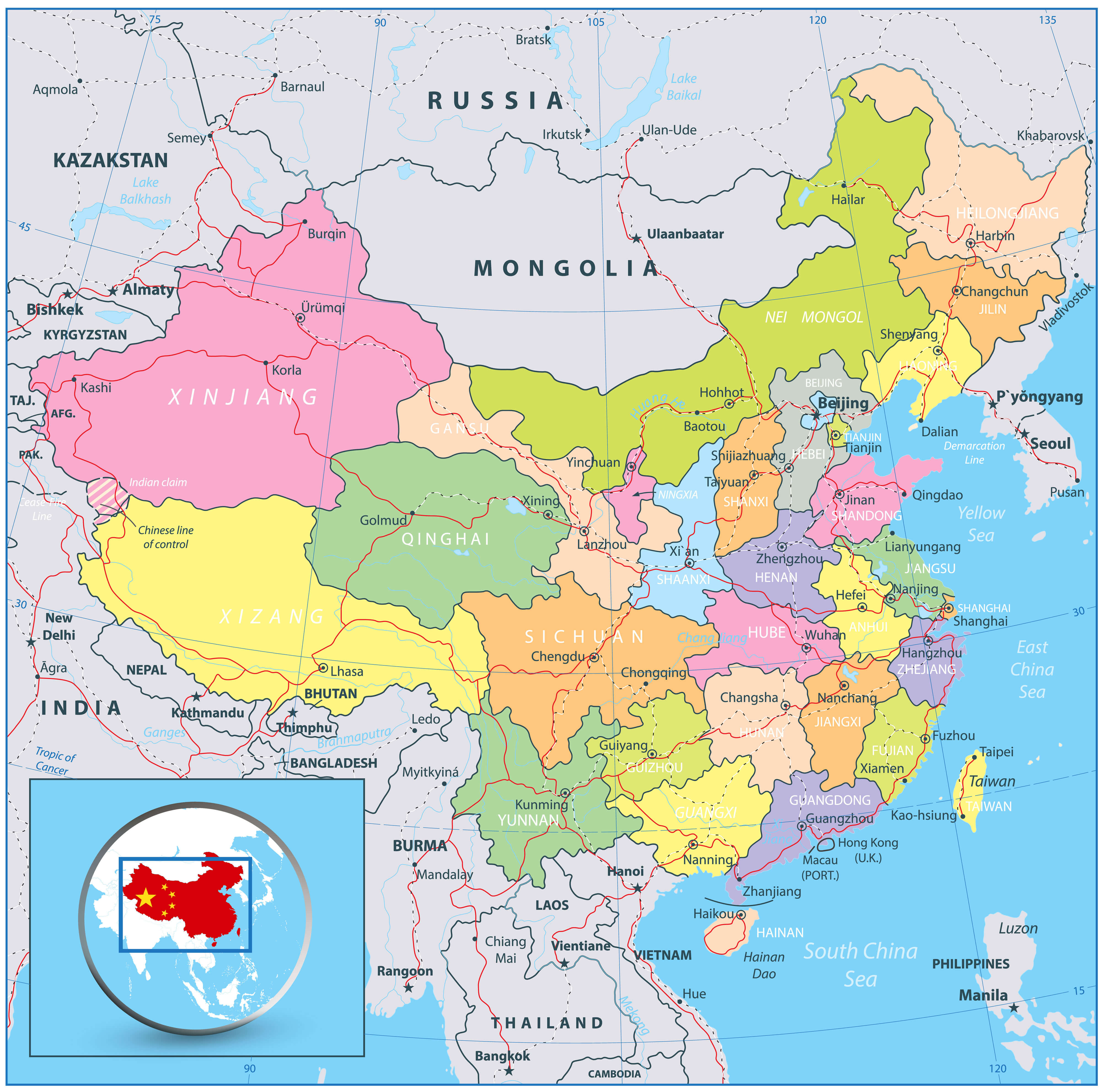 Detailed Political Map of China