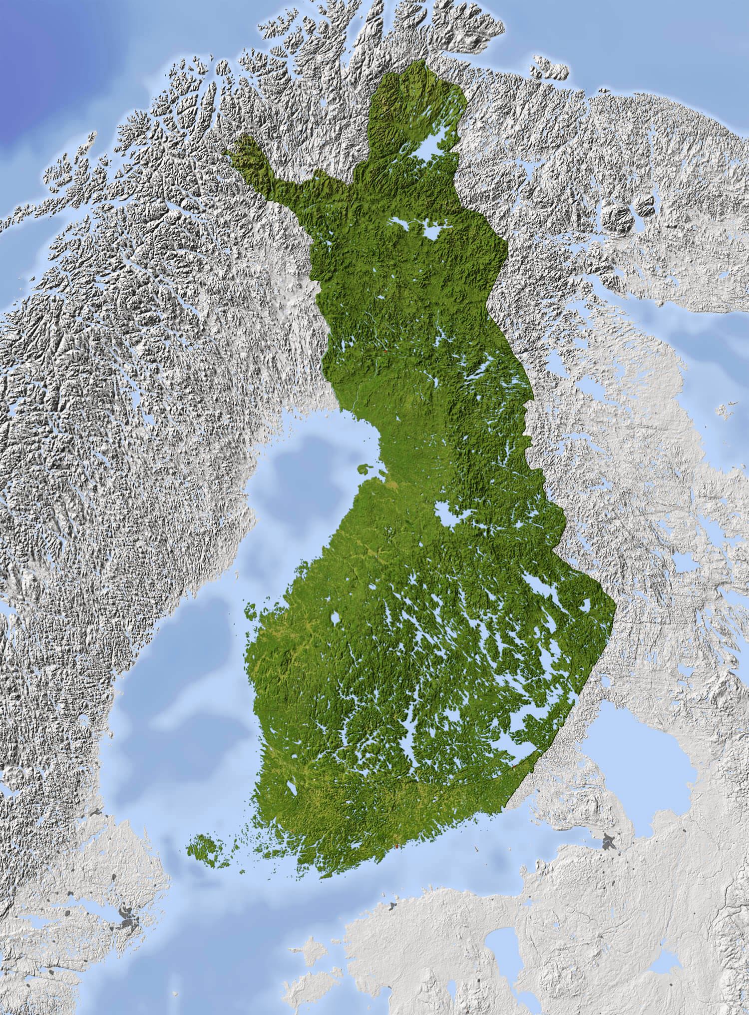 Finland Shaded Relief Map