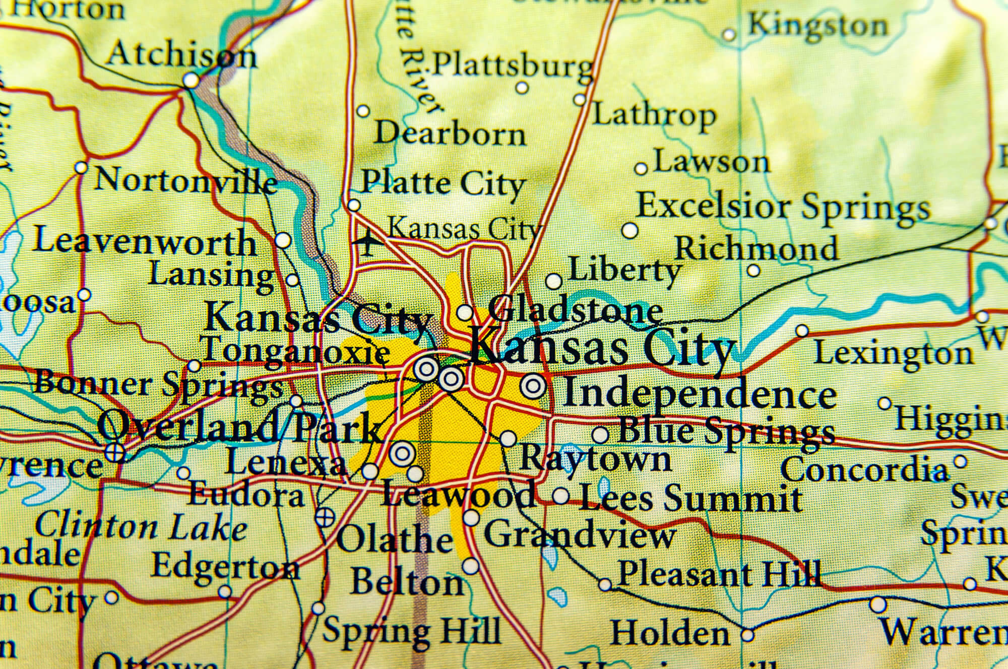 Geographic map of Kansas City