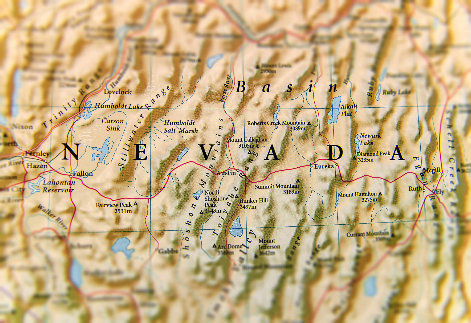Geographic map of Nevada