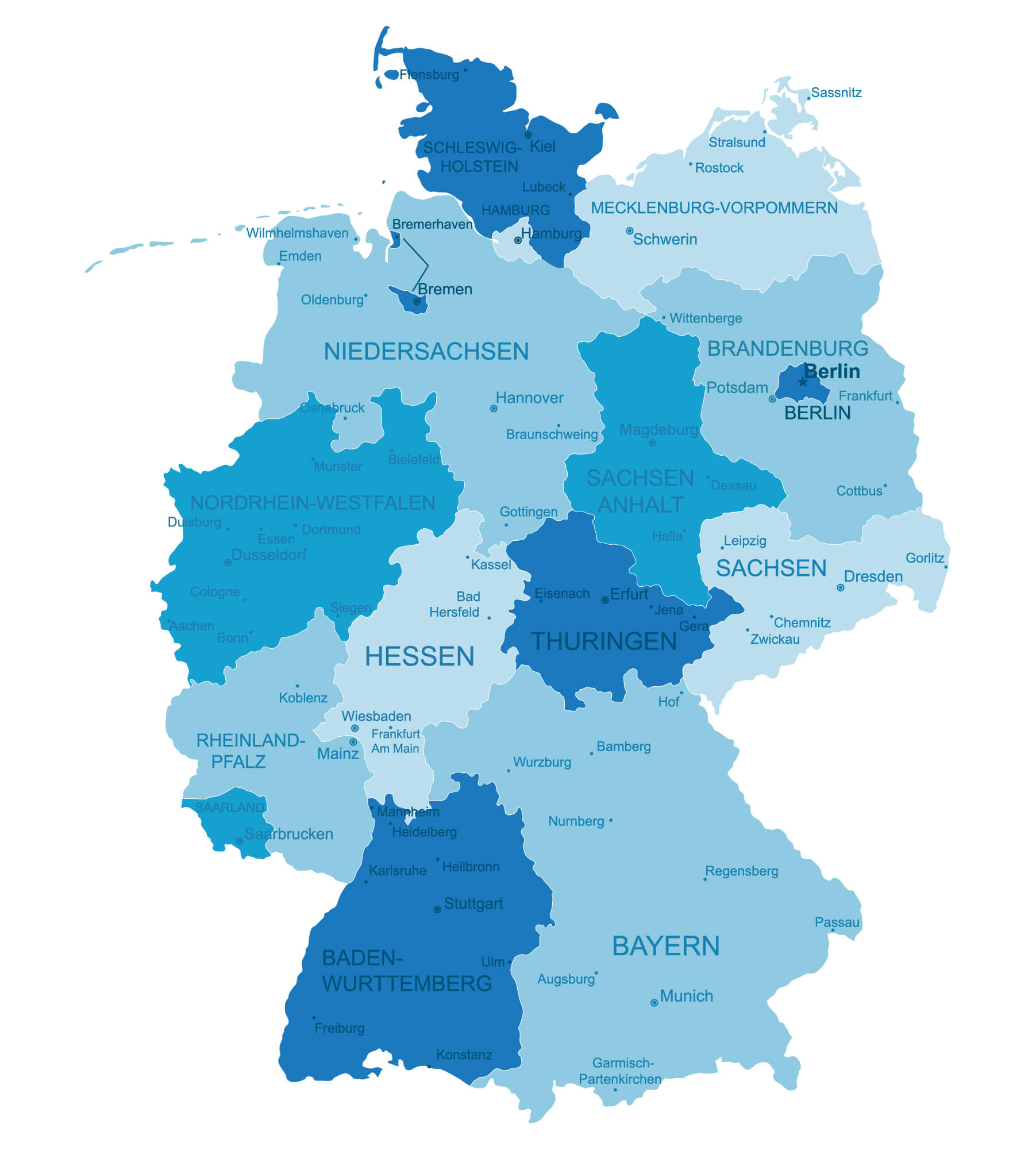 Germany Detailed Regions Map