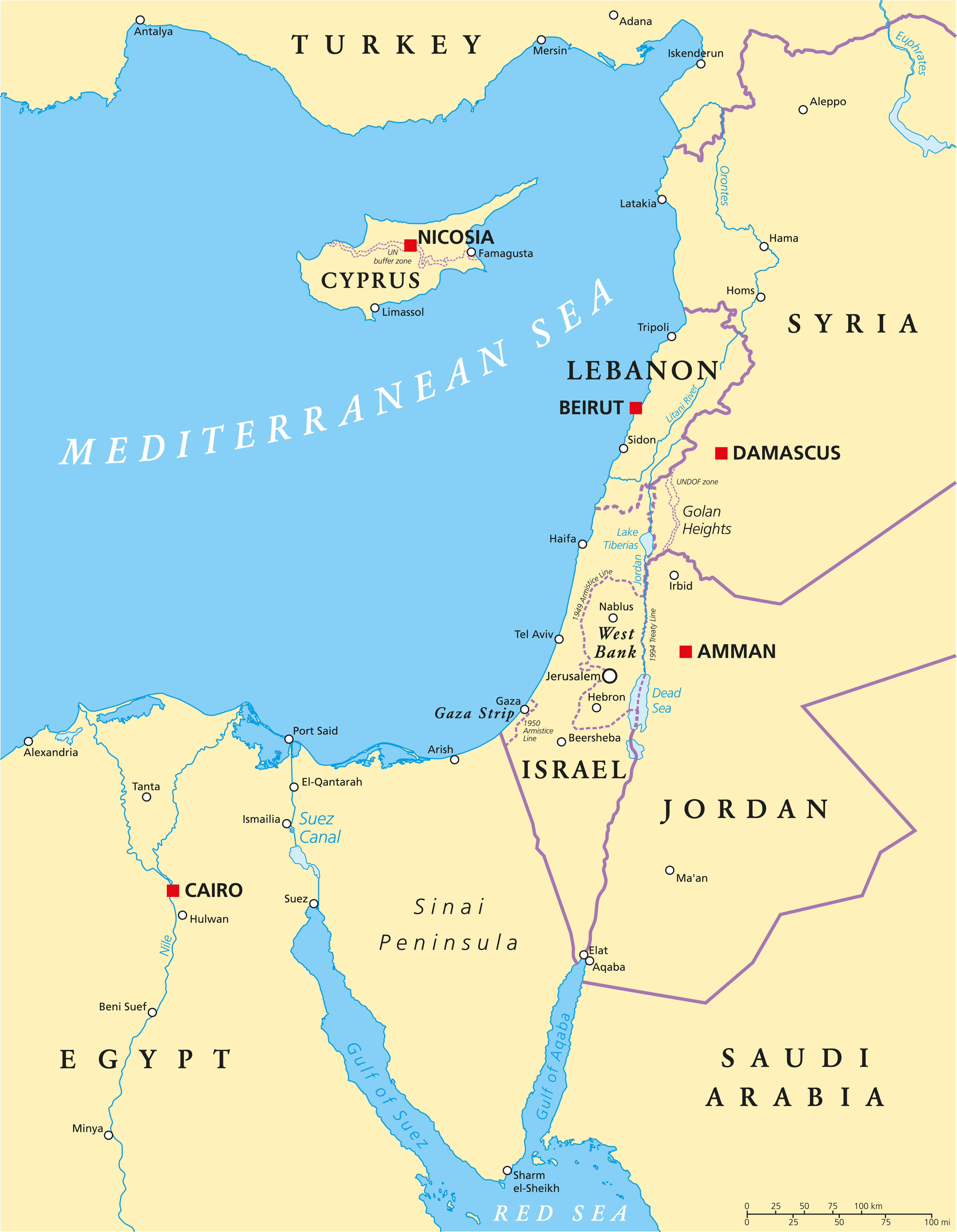Israel Eastern Mediterranean Political Map