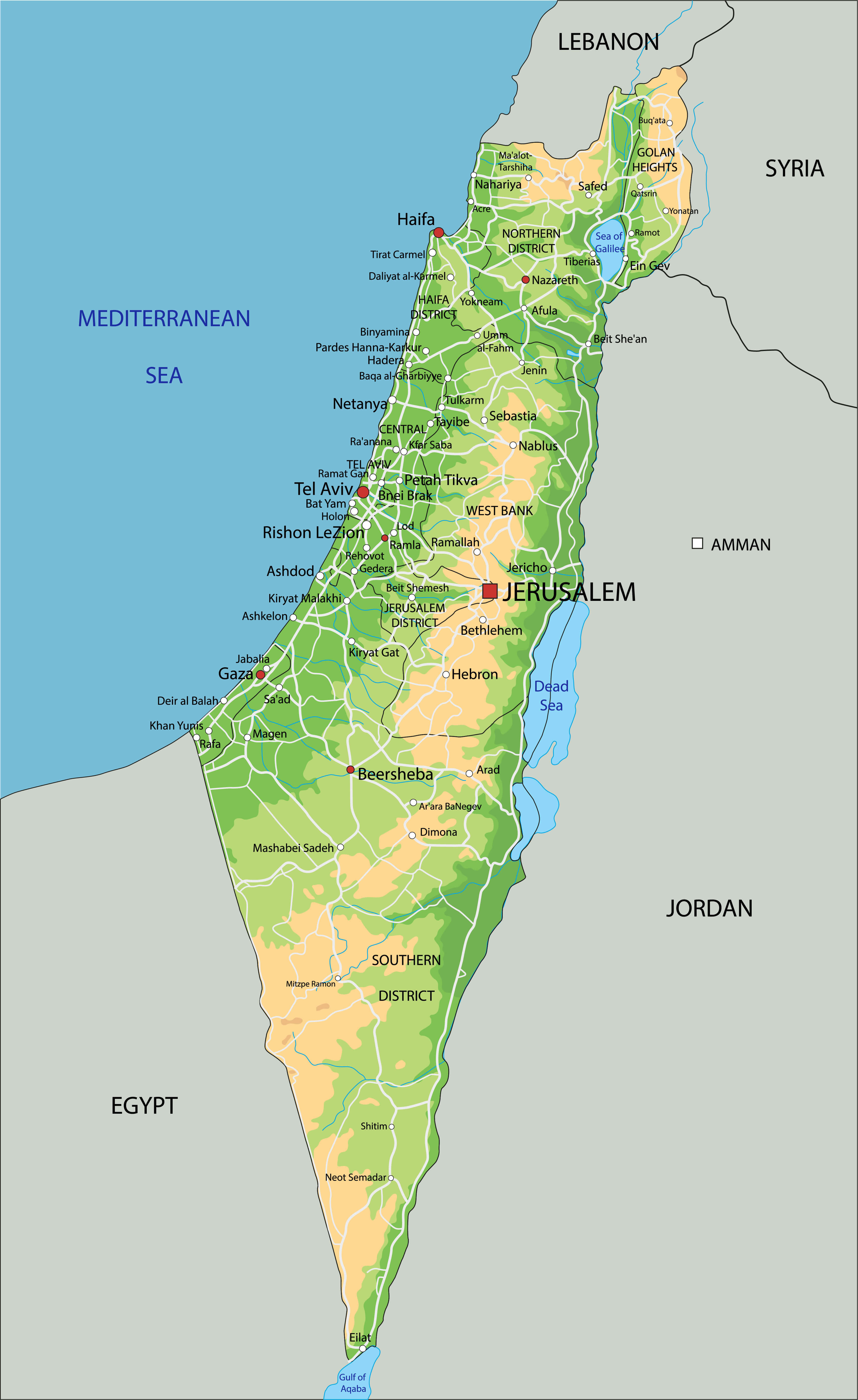 Israel Physical Map