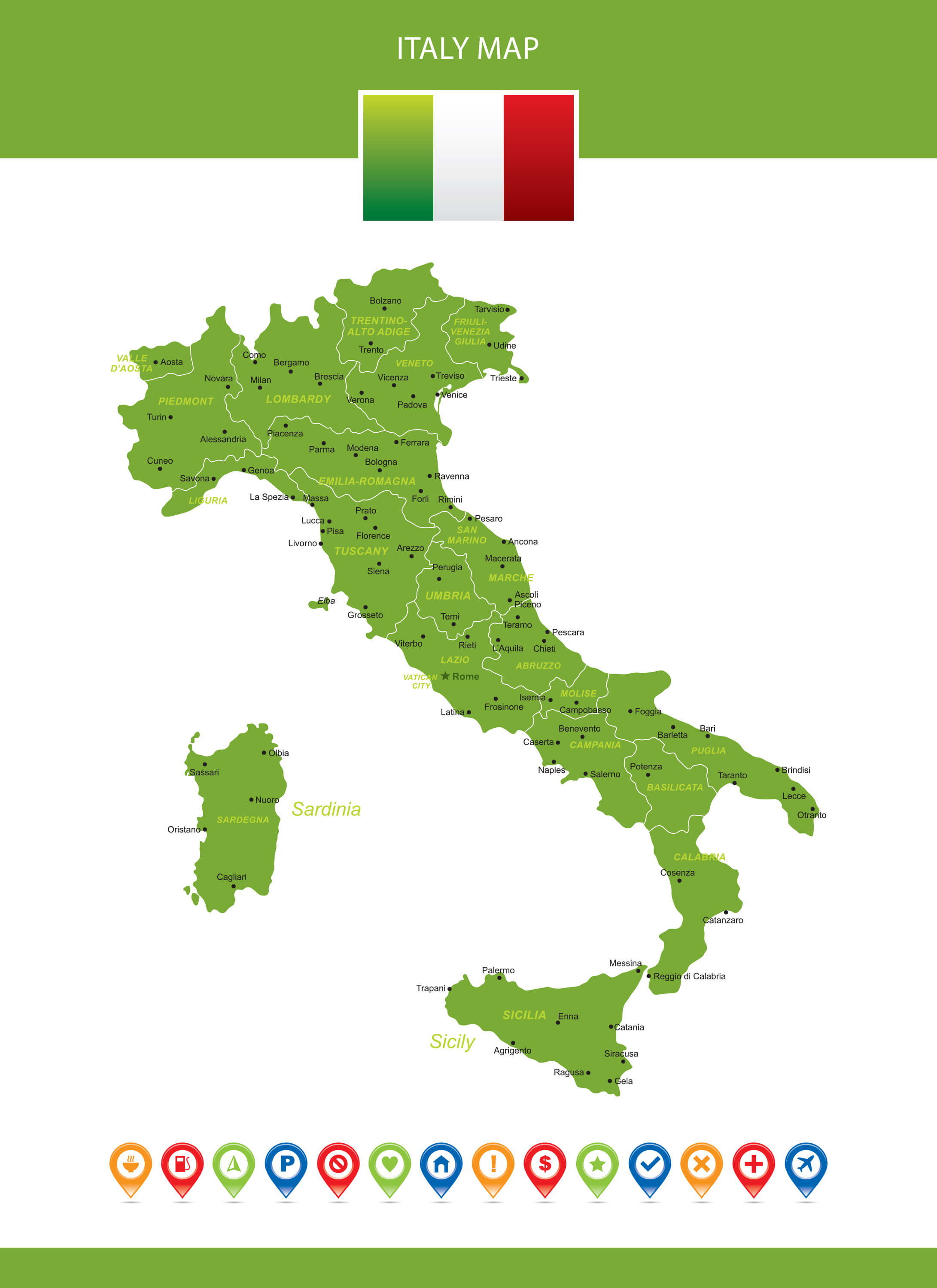 Italy Map with Major Cities