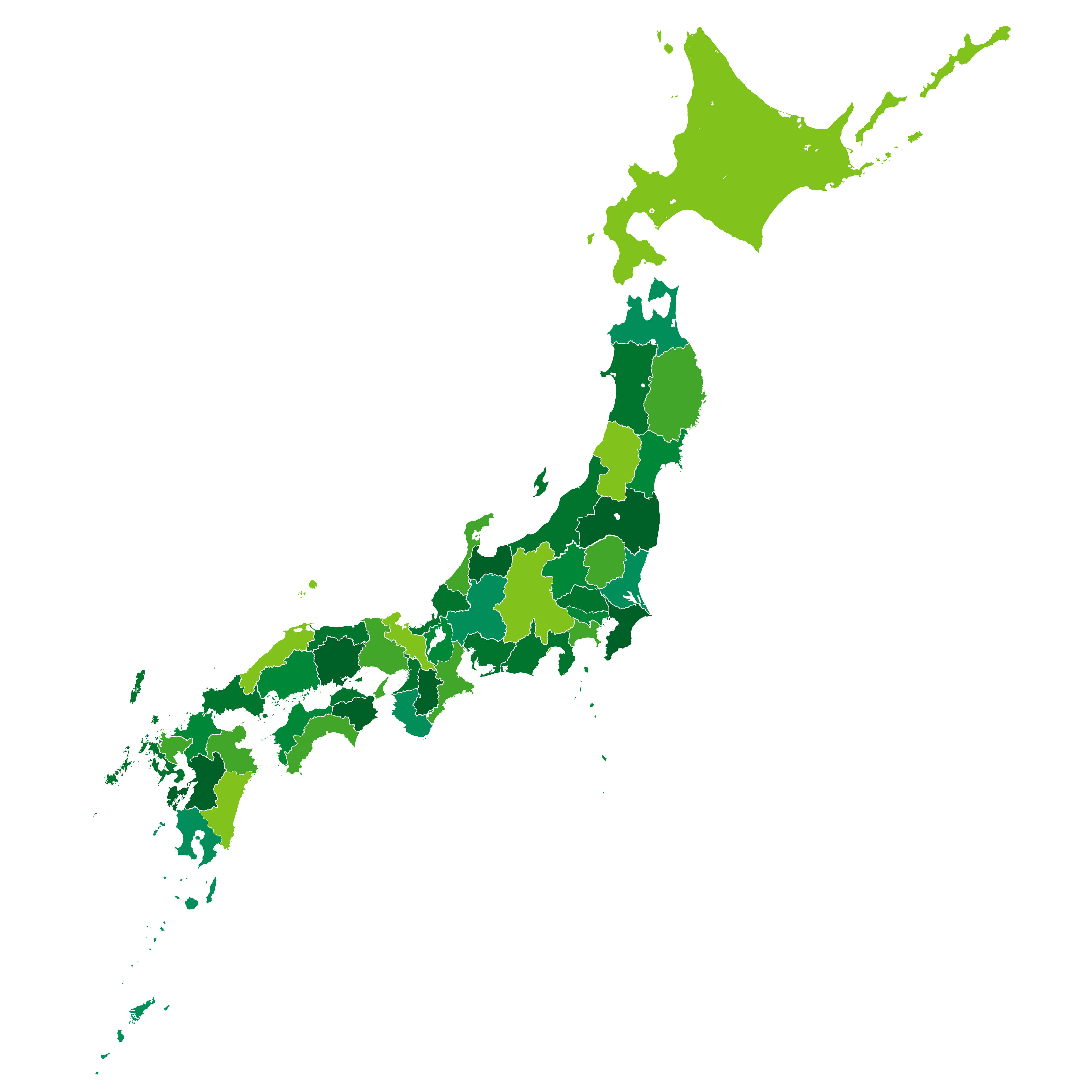 Japan Colorful Blank Map