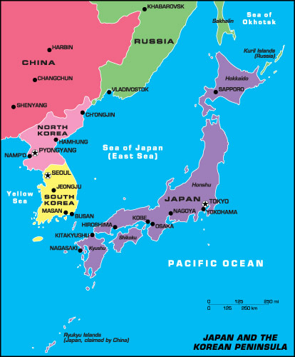 Japan and the Korean Peninsula Map