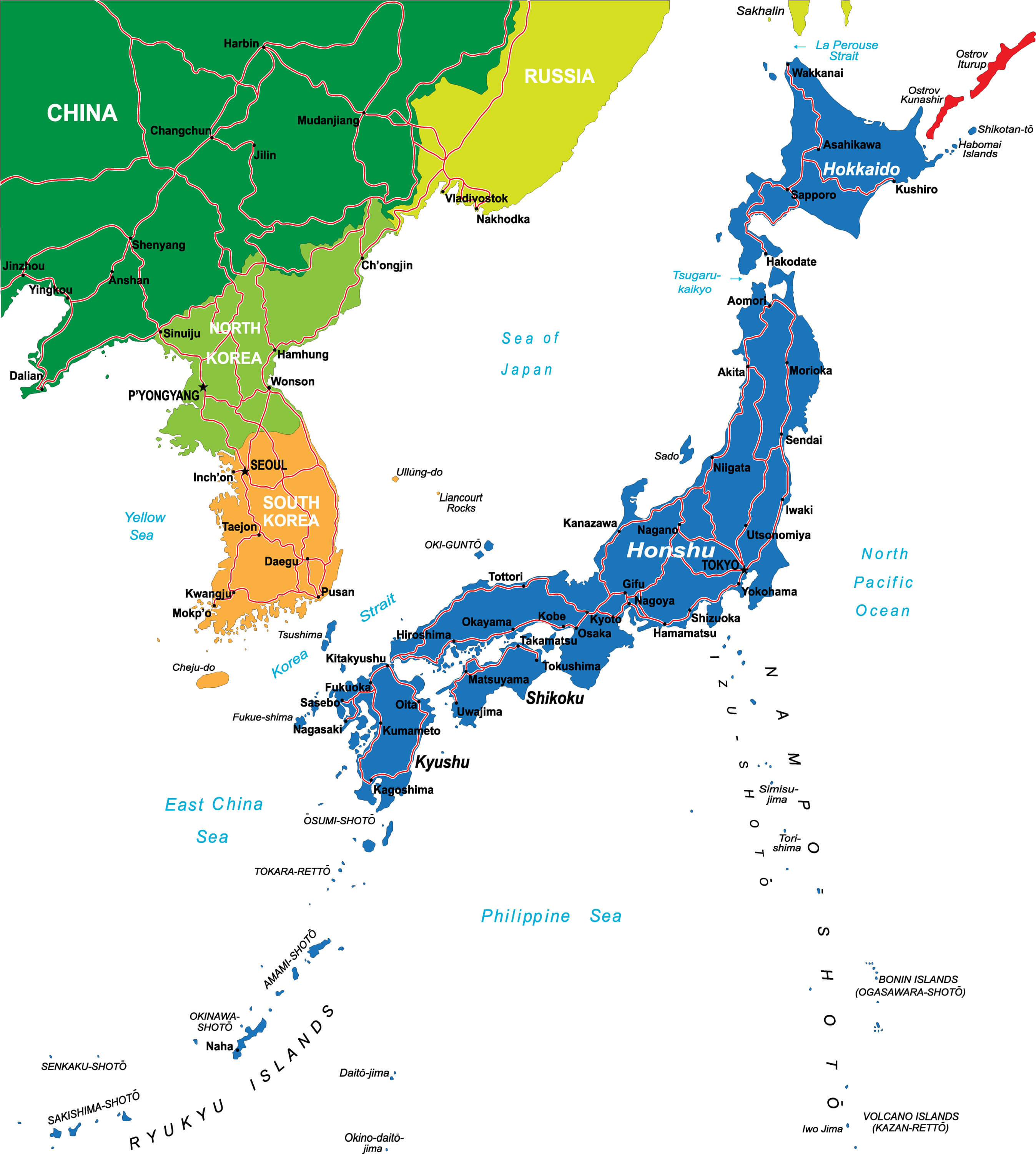 Japan Main Cities Map