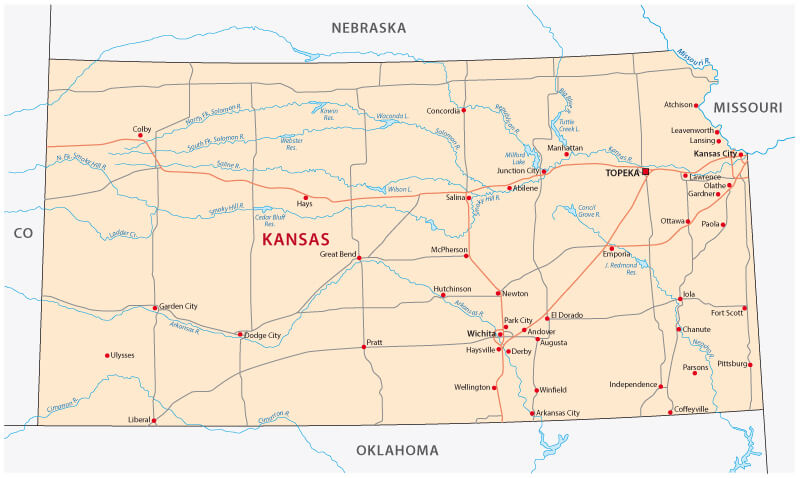 Kansas State Map United States