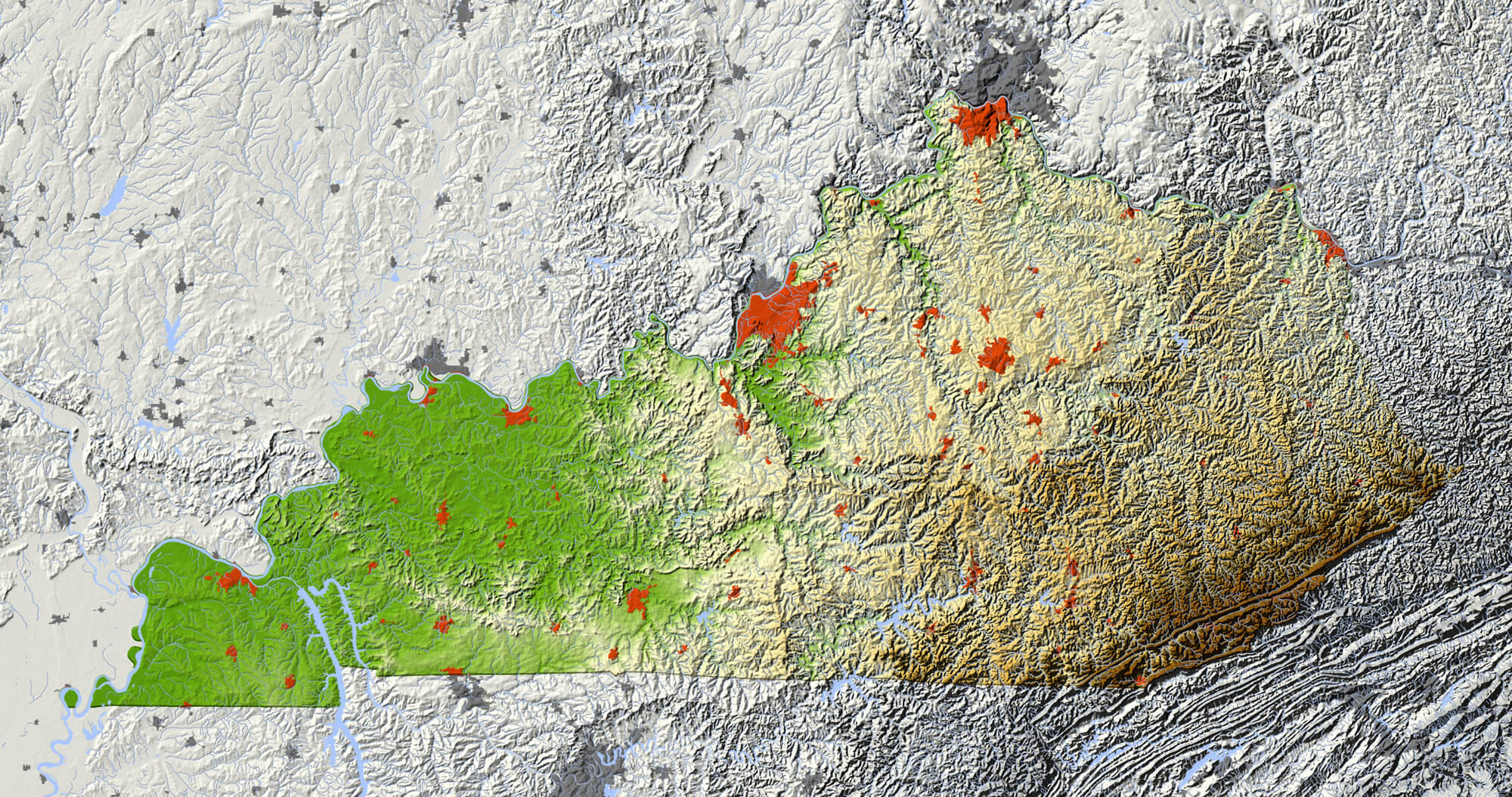 Kentucky Shaded Relief Map