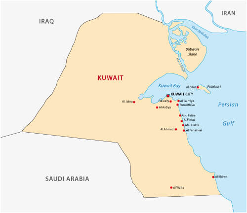 kuwait map guide of the world