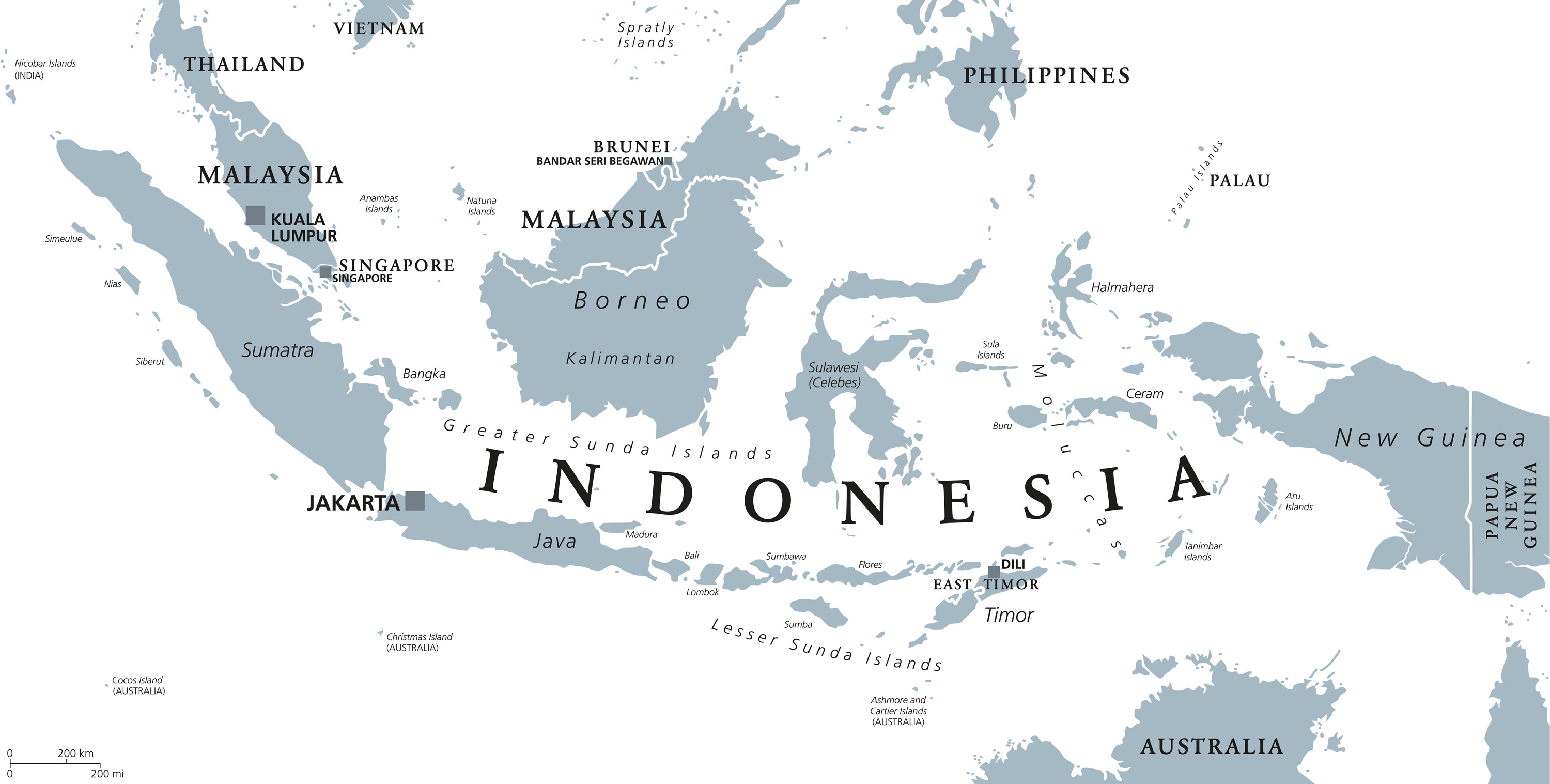 Indonesian Cities In The Island Of Borneo