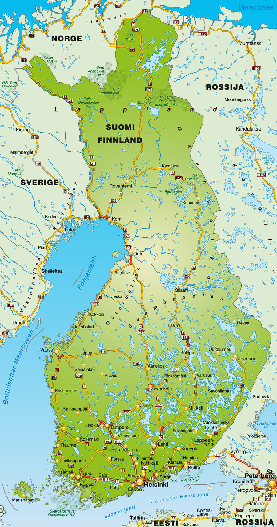 Map of Finland with Autoroutes