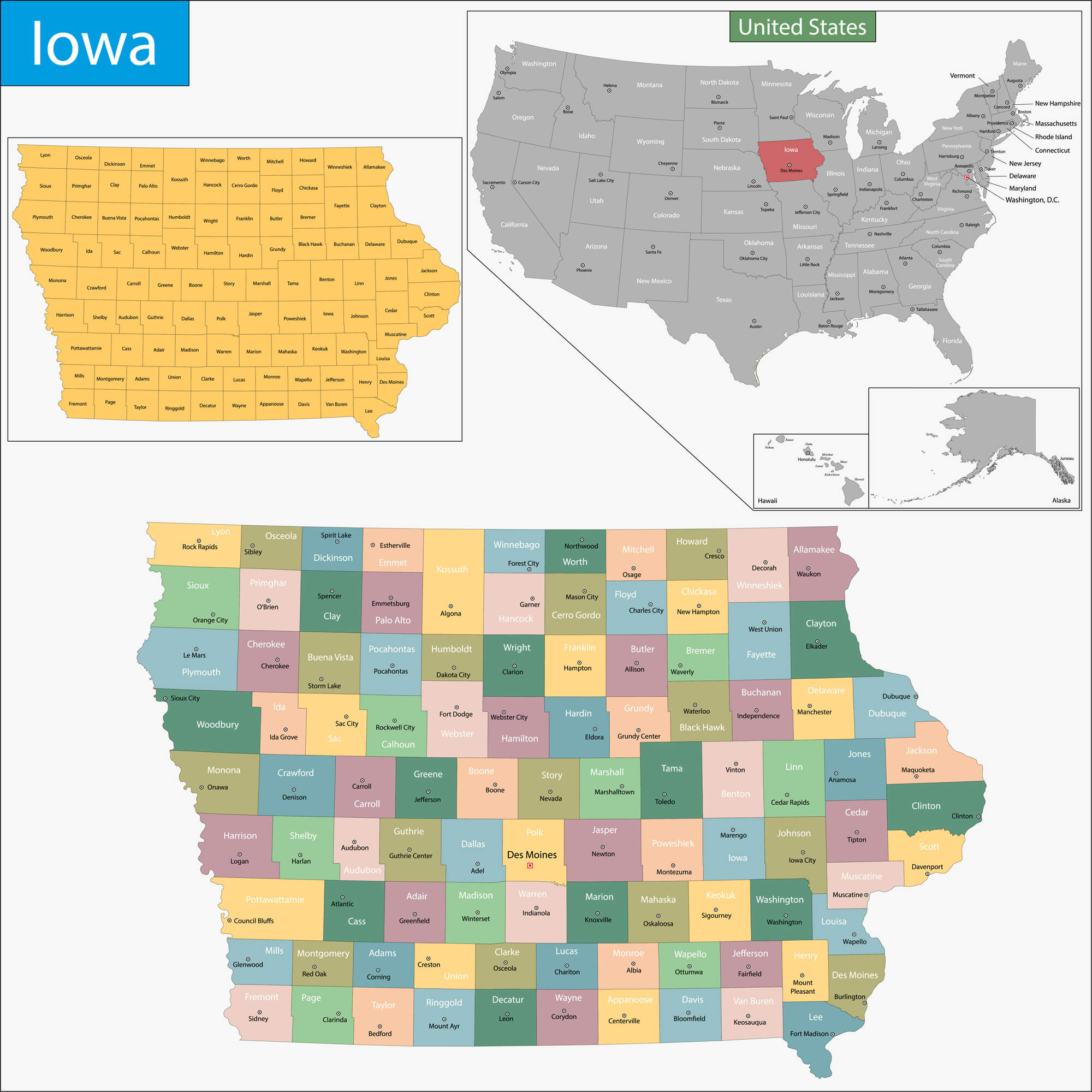 Map of Iowa - Guide of the World