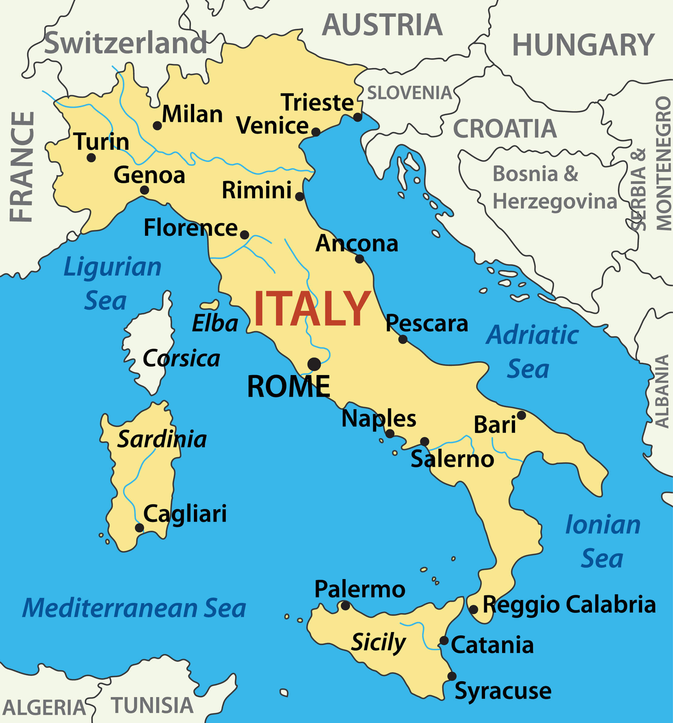 Italy On Map Of World.Italy Map Guide Of The World