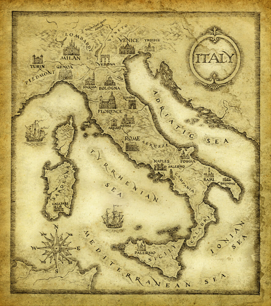 Map of Italy, drawn with ink on paper
