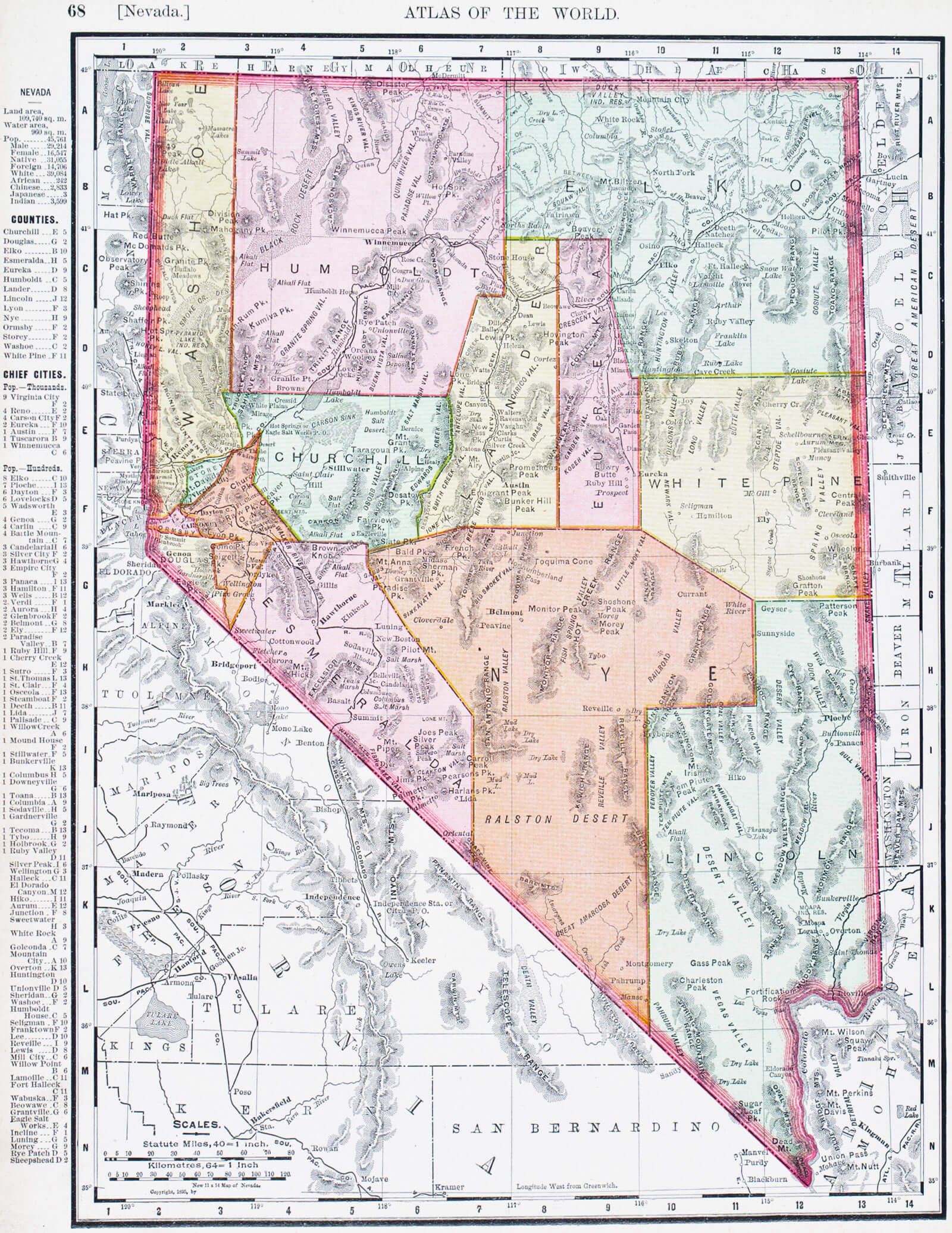 map of Nevada, 1900