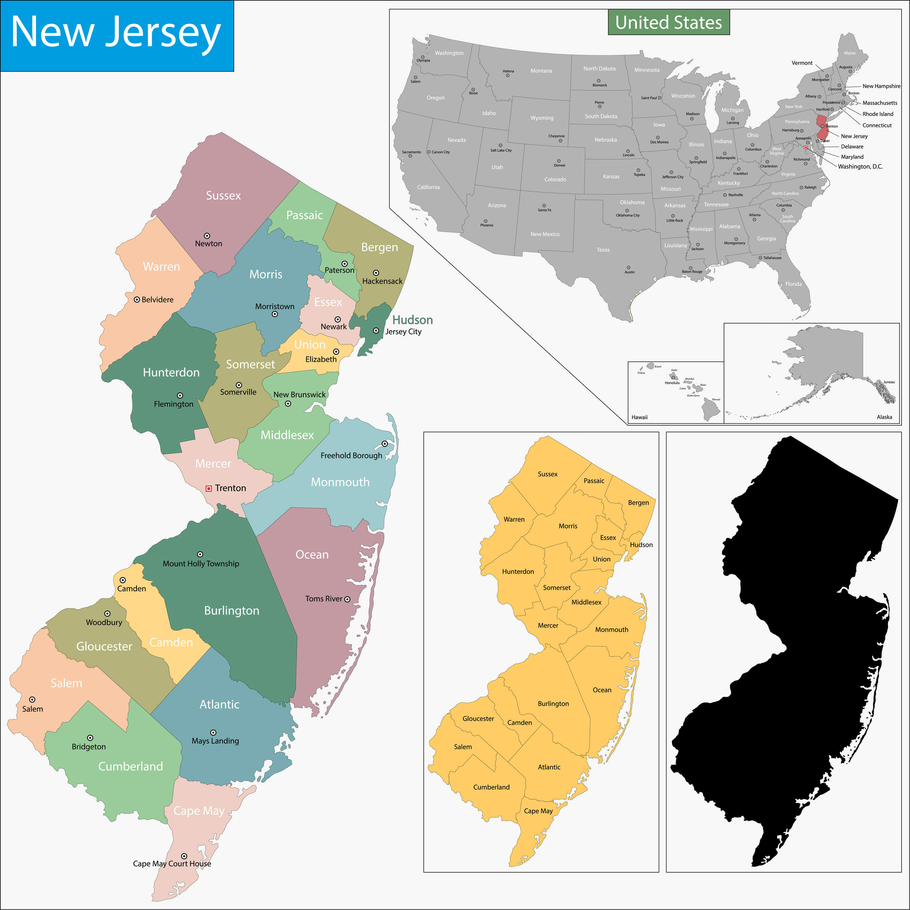 New Jersey Map - Guide of the World