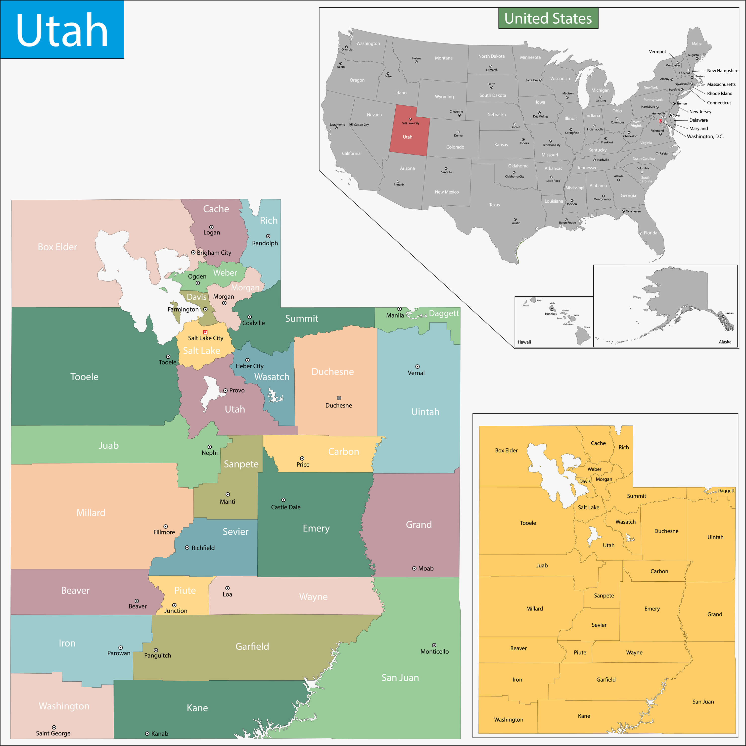 Map of Utah, US States
