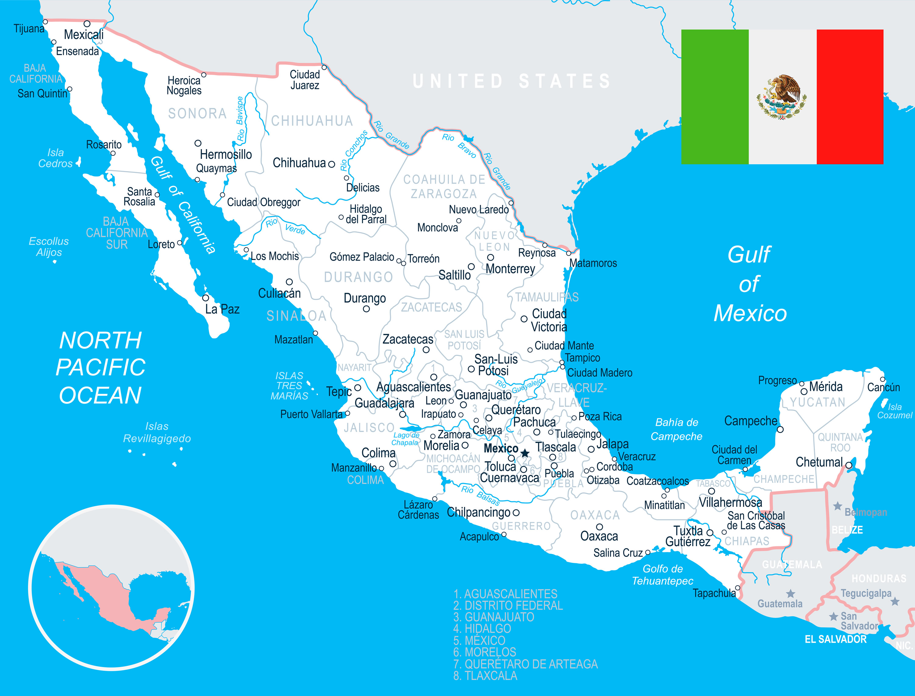 Mexico Map with Flag