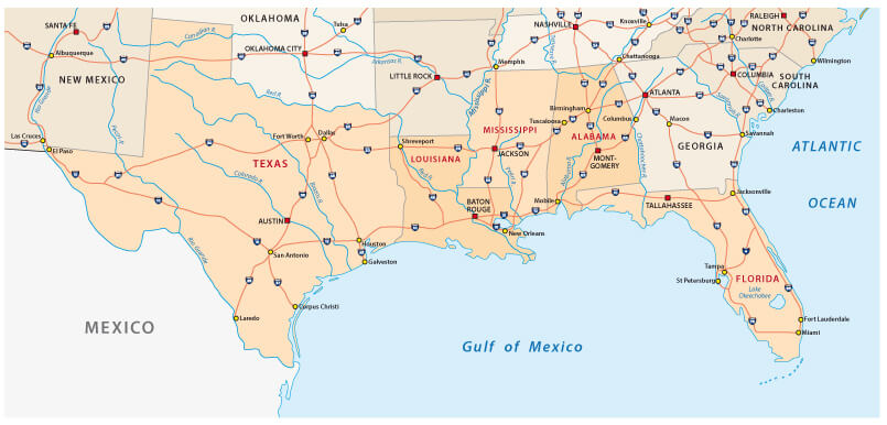 Mississippi Map, Gulf of Mexico