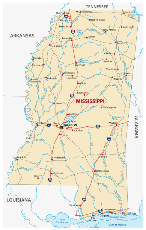Mississippi Route and Rivers map