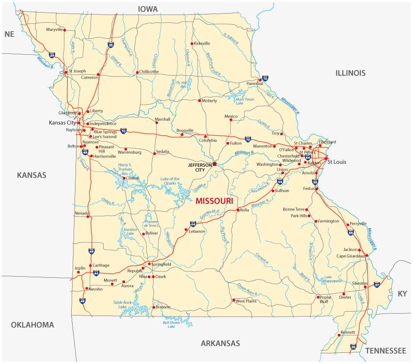 Map Of Missouri Guide Of The World - Missouri road map