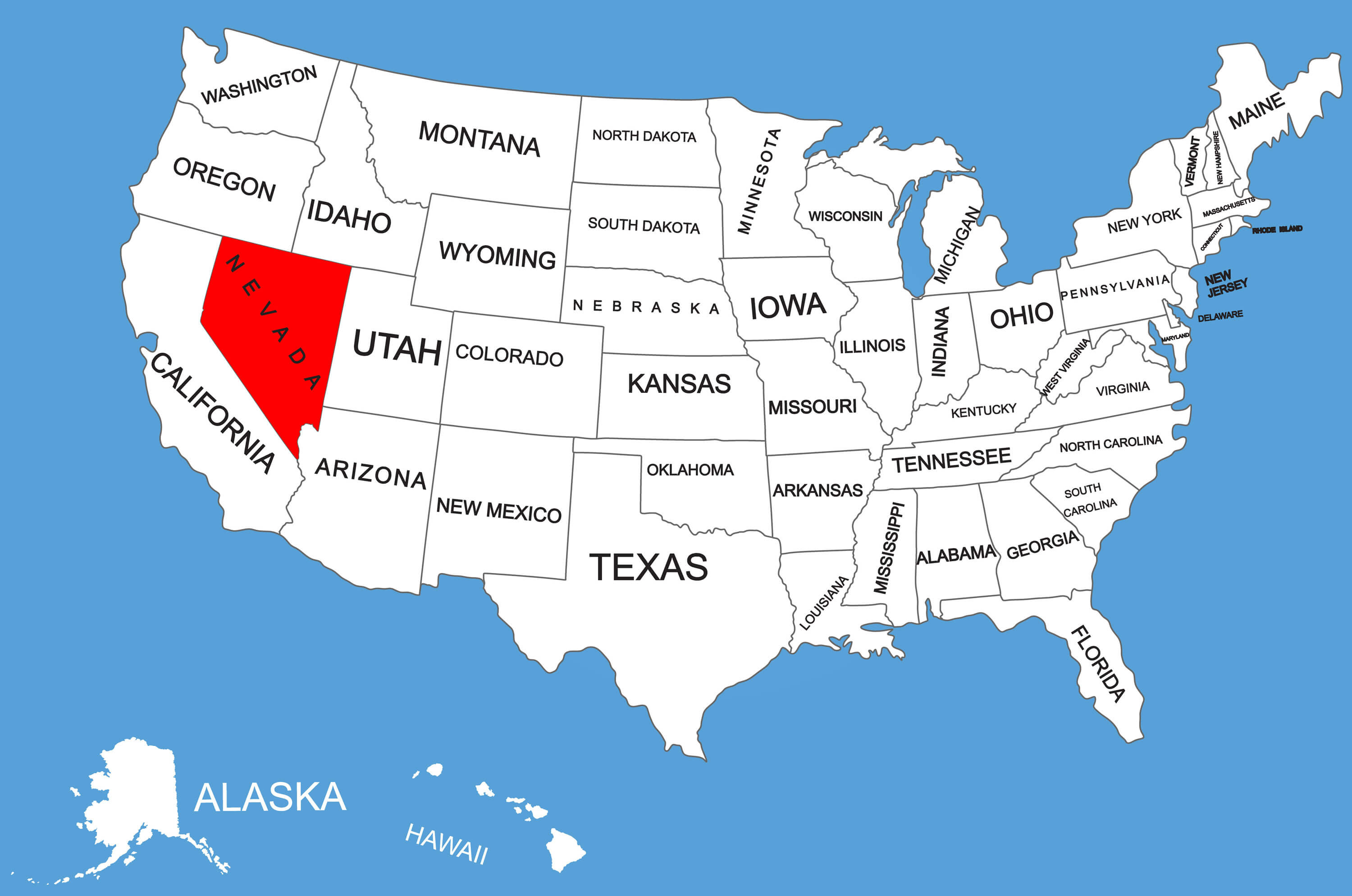 Map Of Nevada And Arizona Usa.Map Of Neveda Guide Of The World