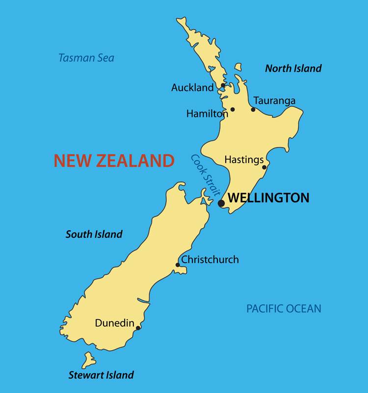 New Zealand Cities Map