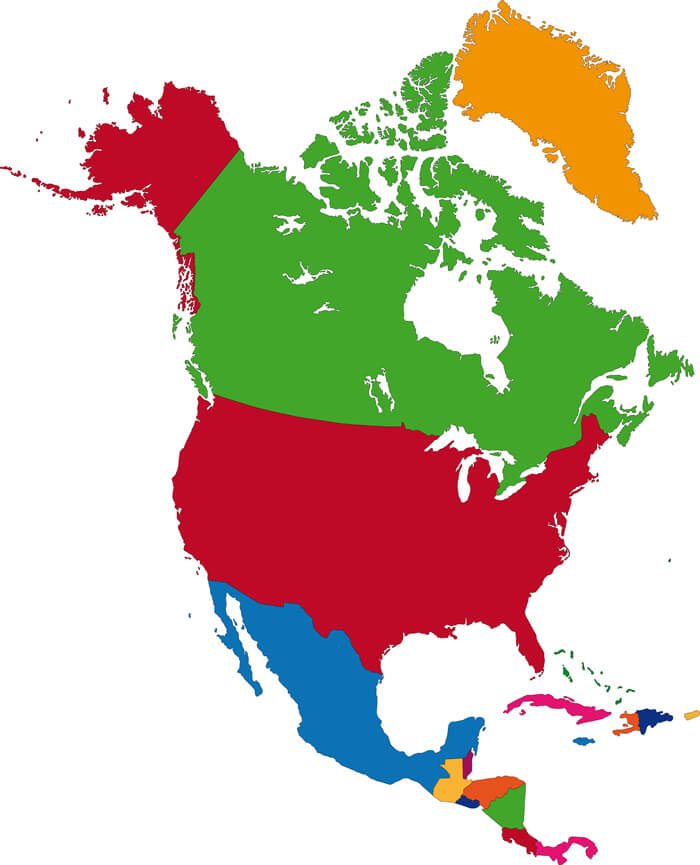 Colored Map Of North America