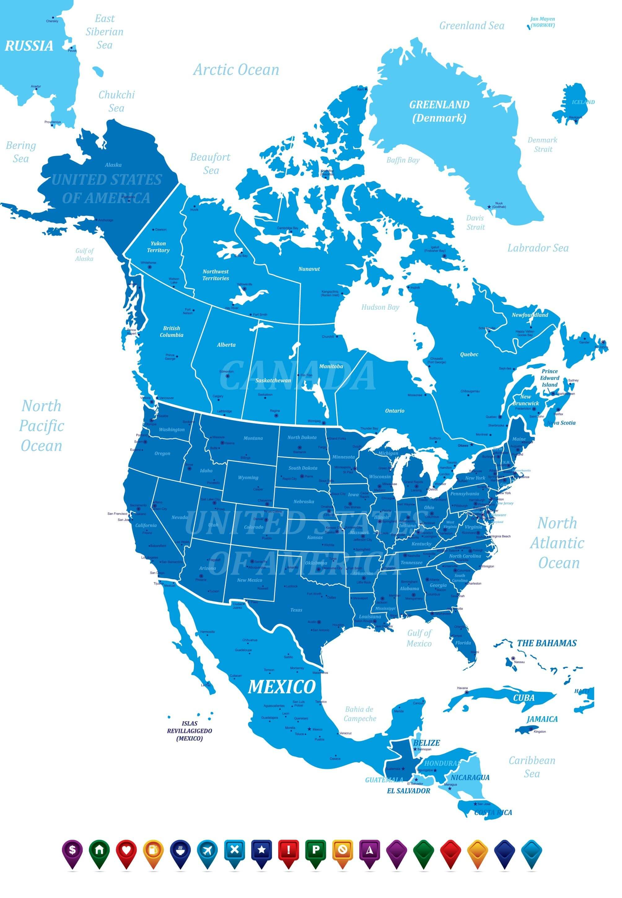 North America Map with Canada