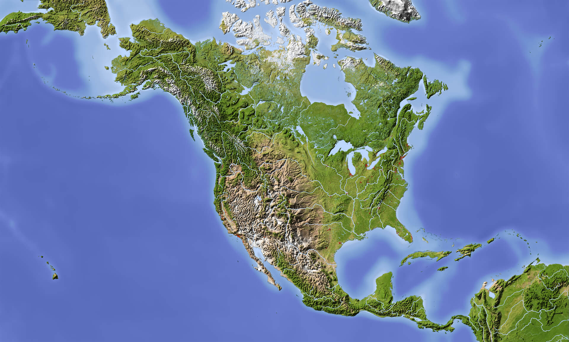 Map of North America Guide of the World