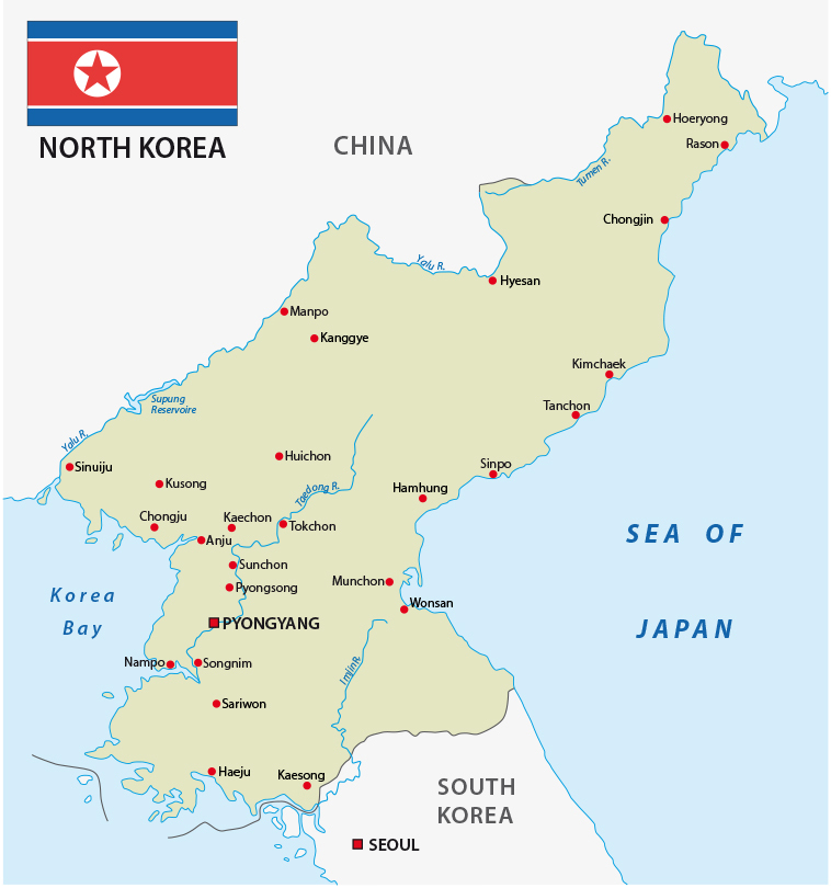 North Korea Map with flag