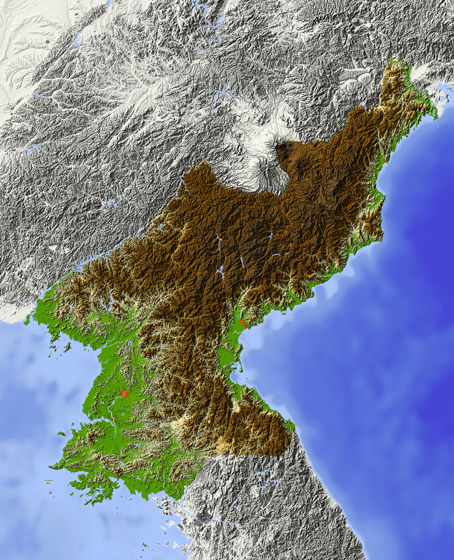 North Korea Relief Map