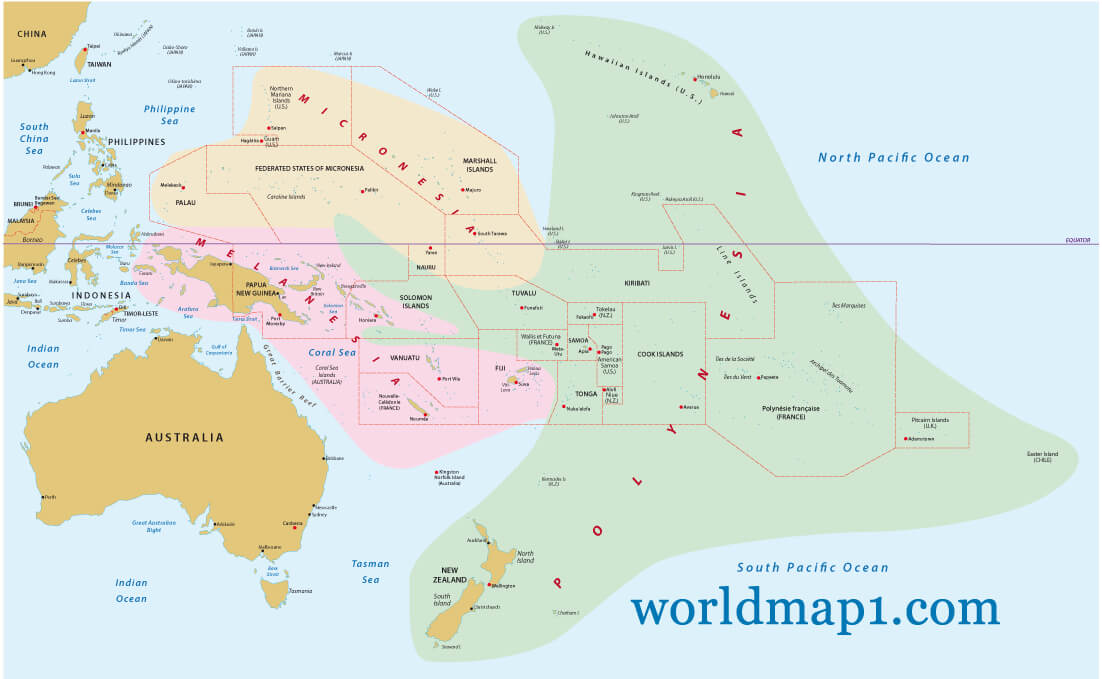 Map of Oceania - Guide of the World