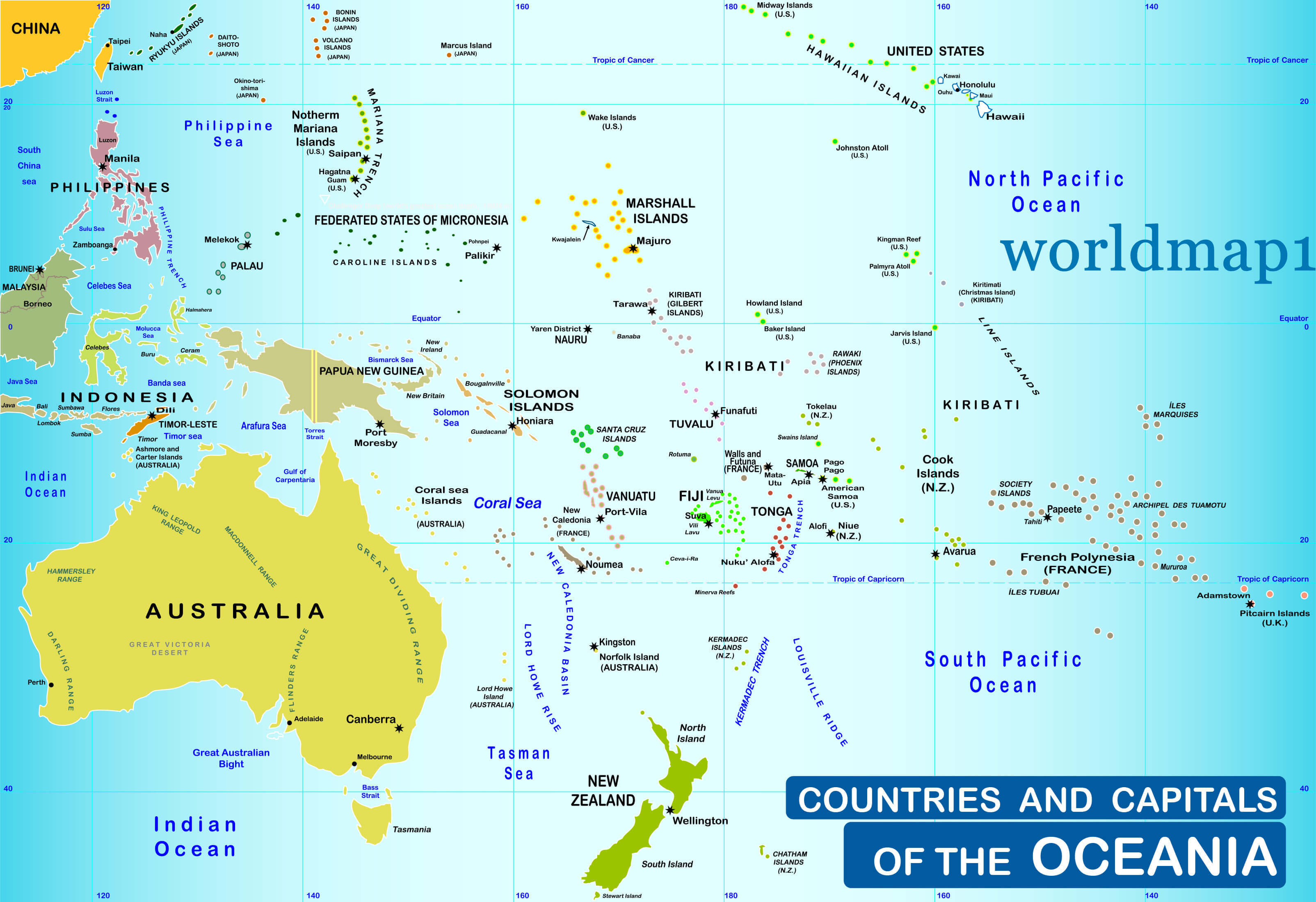 Countries and capitals of the Oceania Map