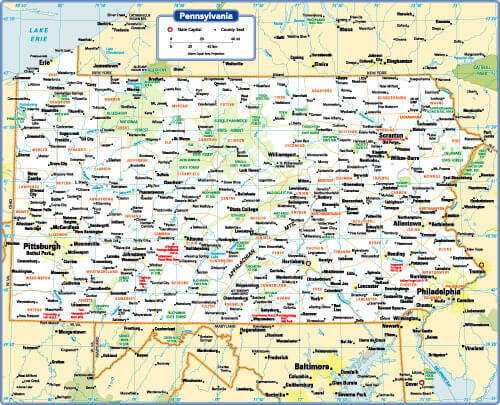 Pennsylvania Map - Guide of the World
