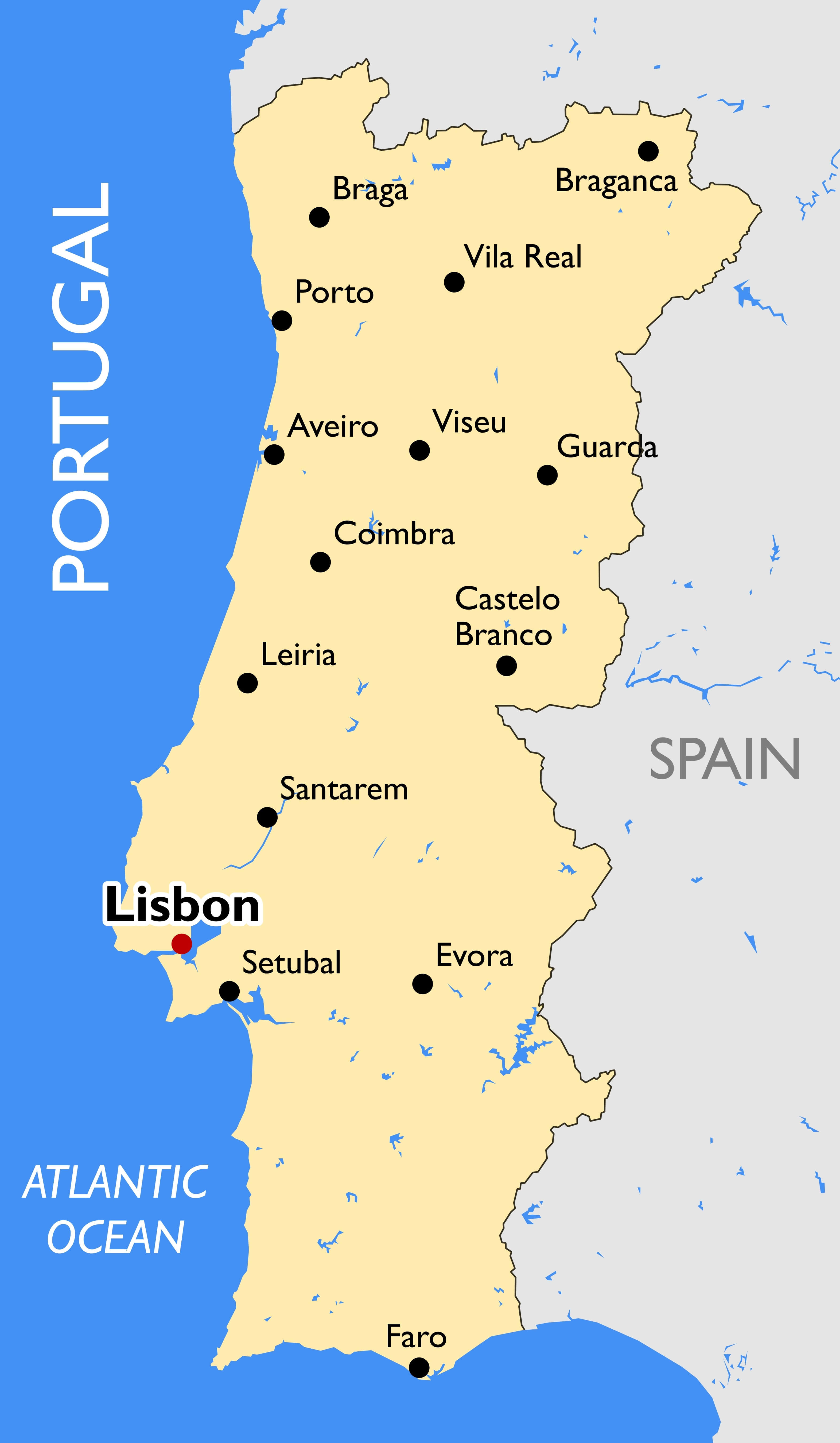 Portugal Main Cities Map